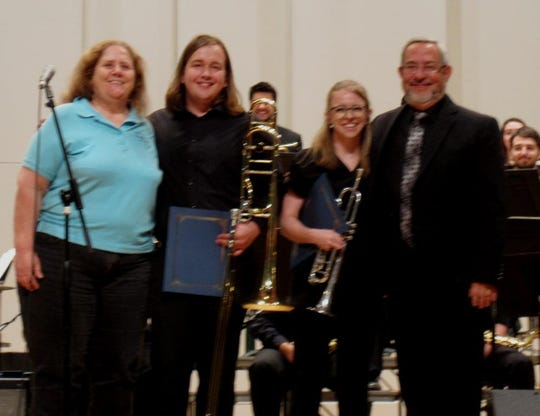 The Bob Burns Music Scholarship for Spring 2019 was awarded at the NMSU Jazz Ensembles Concert this past Saturday by the society's vice president, Cindy Brooks. The Award was presented to Jane Kelly, trumpet, and Garrett Anderson, trombone, for their musical excellence in the NMSU Jazz Program.