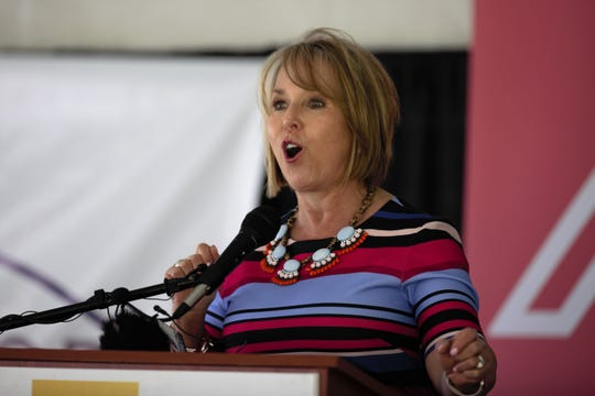 New Mexico Gov. Michelle Lujan Grisham welcomes Rich Global Hemp to Las Cruces at an announcement event in La Mesa on Monday, May 20, 2019.