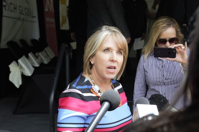 New Mexico Gov. Michelle Lujan Grisham speaks to reporters after the announcement of Rich Global Hemp's Las Cruces facility. The event took place at New Mexico State University's Leyendecker Plant Science Center in La Mesa on Monday, May 20, 2019.