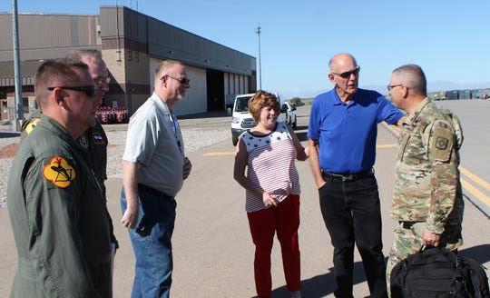 Alamogordo Mayor Richard Boss, right in blue shirt, and his wife Kim Boss, to his left, at a Boss Lift Friday, May 17.