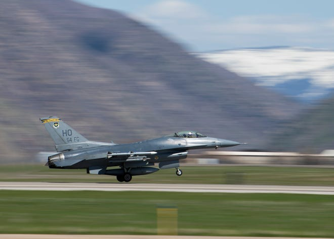 A 311th Fighter Squadron F-16 Viper takes off from Hill Air Force Base, Utah, April 24, 2019. Between April 22 and May 3, the 311th FS conducted 174 sorties in support of student pilot training and dissimilar air combat training with the F-35 Lightning II.