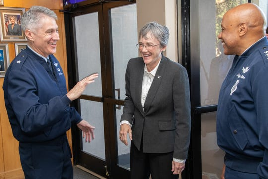 Maxwell AFB,  Ala. - Brig. Gen. Jeremy T. Sloane, Commandant, Air War College, welcomes Secretary of the Air Force Heather Wilson to the National Security Forum.