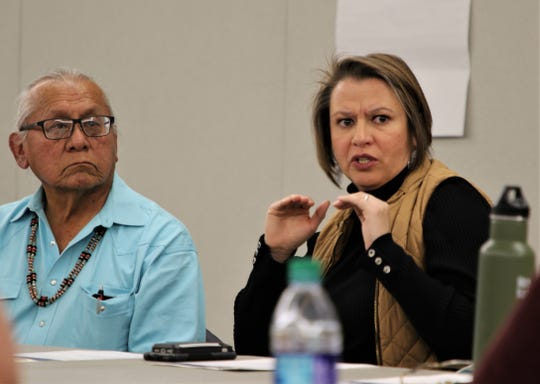 Daniel Tso and Land Commissioner Stephanie Garcia Richard participate in a working group focused on land use near Chaco Culture National Historical Park, Sunday, May 19, 2019, at San Juan College.
