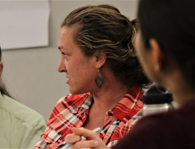 WildEarth Guardians senior climate and energy campaigner Rebecca Sobel participates in a discussio, May 19, 2019, during a working group meeting at San Juan College.