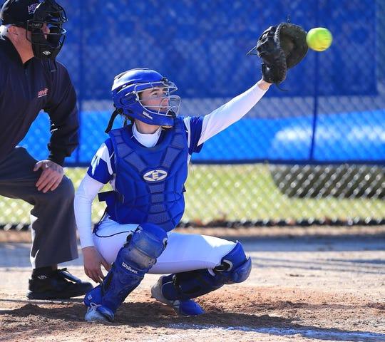 Salem's Hailey DeChalk catches a pitch.