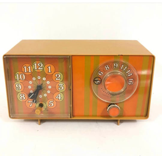 "Vintage ""Groovy Stripes"" AM clock radio by General Electric. Today's digital clocks offer regrettably little in designer whimsy."