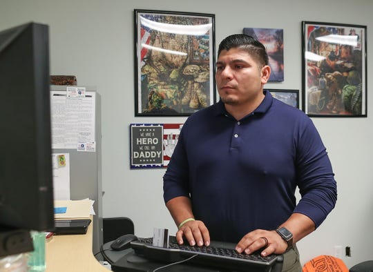 United States Navy veteran Edward Robles is a peer support specialist with the U.S. Department of Veterans Affairs in Palm Desert, May 13, 2019. His personal experience with depression gives him key skills for working one-on-one with other veterans experiencing emotional problems who may be contemplating suicide.
