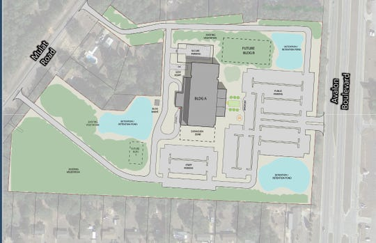 A conceptual master plan for the new Santa Rosa County Courthouse shows a sprawling complex with multiple parking areas, buildings and retention ponds.