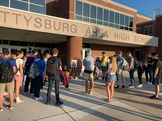 Gettysburg High School students created a tribute on May 20, 2019, for Faith Boone, 18, who was killed in a car crash in Mount Joy Township on May 17, 2019.