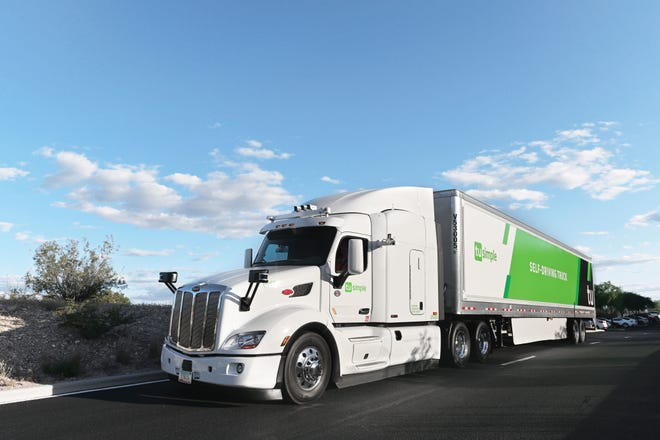TuSimple is testing self-driving trucks similar to this for the Postal Service between Phoenix and Dallas.