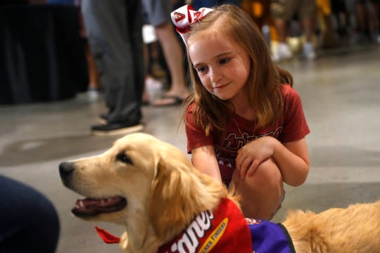 Haylie Birchamn, 6, pets Brenly, a rescue dog who is being trained to become a therapy dog through Gabriel's Angels, before a Diamondbacks game at Chase Field in Phoenix on Sunday.