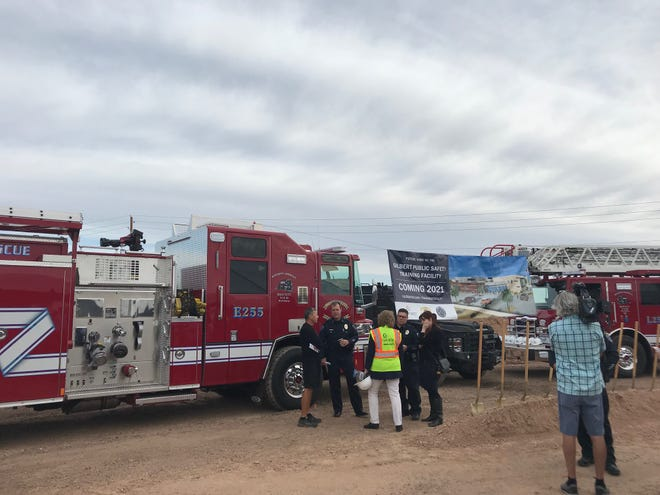 Police and fire officials gathered May 20, 2019, in Gilbert for the ceremonial groundbreaking of the town's Public Safety Training Facility, set to open in 2021.