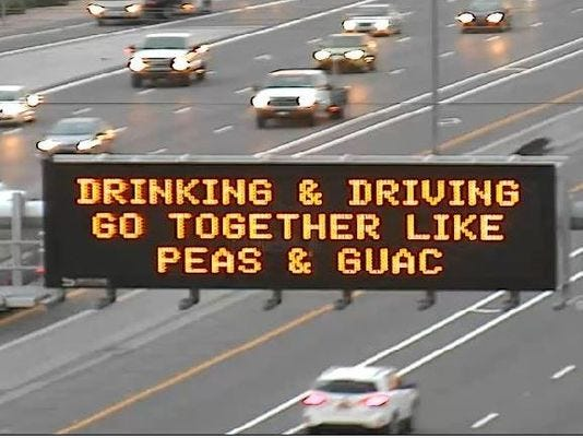 The iconic ADOT road sign from 2015.
