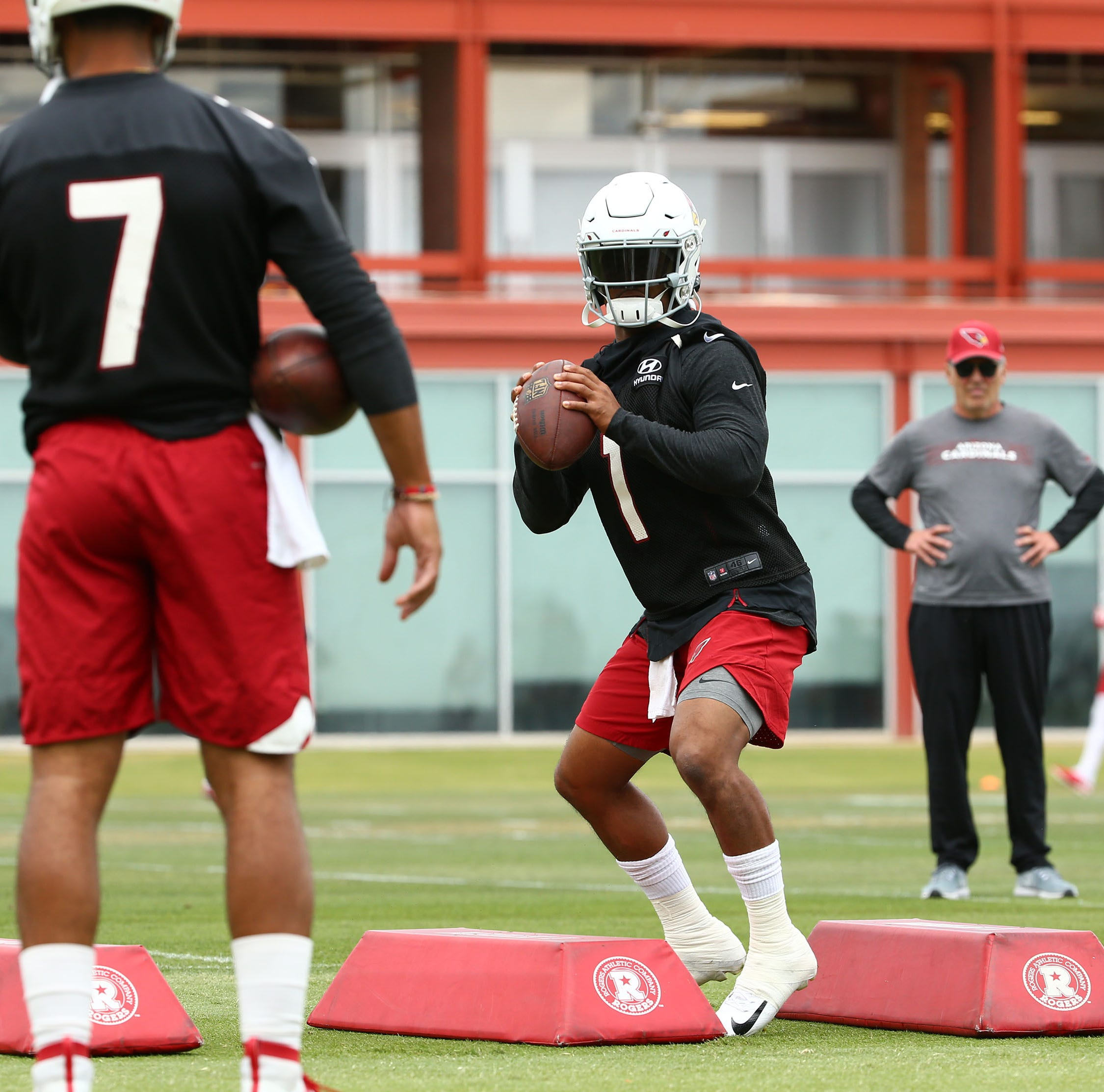Kyler Murray takes the field with Arizona Cardinals veterans and rookies at OTAs