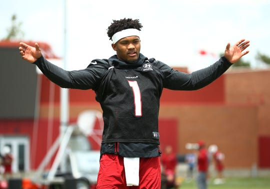 Arizona Cardinals rookie quarterback Kyler Murray (1) during OTAs (organized team activities) on May 20, 2019 in Tempe, Ariz.