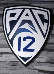 Jul 26, 2017; Hollywood, CA, USA; A general view of the Pac-12 logo during Pac-12 media day at Hollywood & Highland. Mandatory Credit: Kirby Lee-USA TODAY Sports