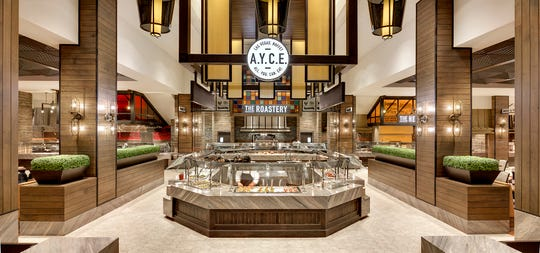 "Entrance to the A.Y.C.E Buffet at the Palms Casino Resort in Las Vegas. A.Y.C.E stands for ""All You Can Eat."" This buffet has a section called ""Revival"" which specifically caters to Vegan, Vegetarian and anti-inflammatory diets."