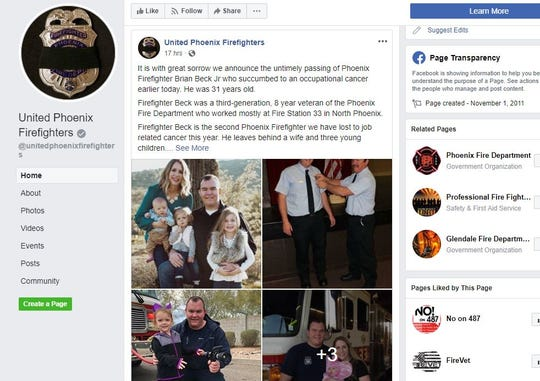 A screenshot of the United Phoenix Firefighters Facebook page shows images of Phoenix Firefighter Brian Beck Jr., who died of occupational cancer on Sunday. He served with Fire Station 33 in north Phoenix.