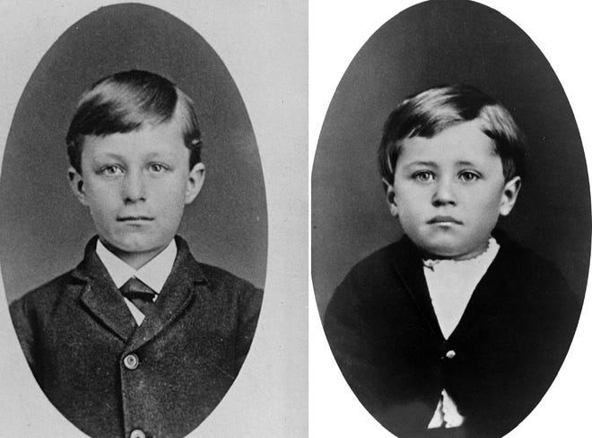 Wilbur and Orville Wright and their parents lived in Richmond from 1881-84. When they moved here the boys were 14 and 10 years of age respectively. This 1876 image, when Wilbur was nine and Orville was five, was taken five years before they came to Richmond.
