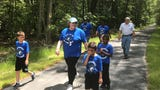 Kiptopeke students walked on the Southern Tip Bike & Hike Trail to attend a dedication for the trail on Friday, May 17, 2019 near Capeville, Virginia.