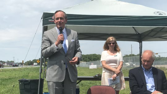 Sen. Lynwood Lewis spoke during a dedication ceremony for the Southern Tip Bike and Hike Trail near Capeville, Virginia on Friday, May 17, 2019.