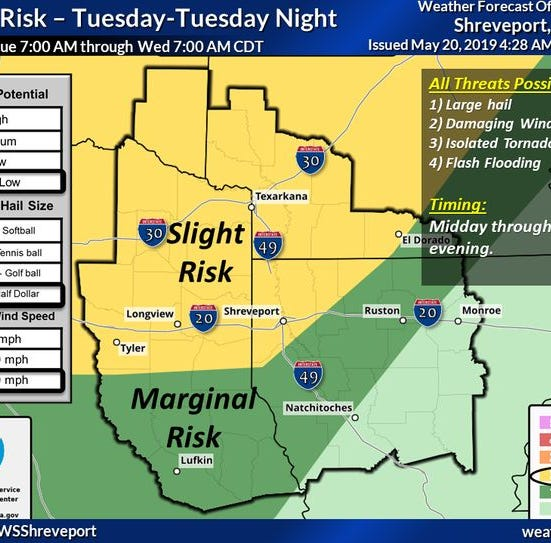 Strong to severe thunderstorms predicted for Tuesday