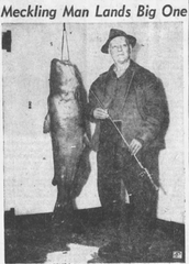 Roy Groves with an 82 pound blue catfish he caught in 1951.