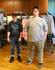 Ethan Goulden, right, and his adviser Tom Stine at the Study Alternative Center. Goulden, 18, recently graduated from Study.
