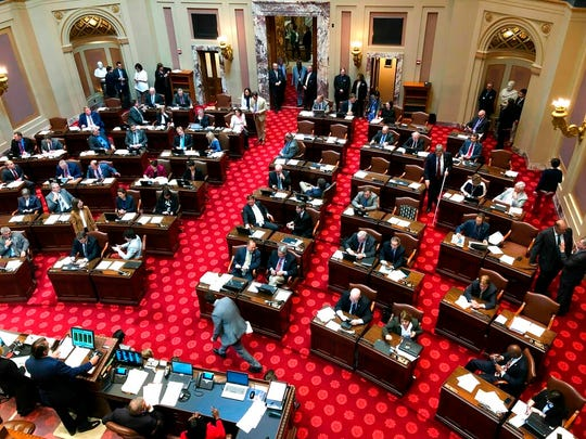 The Minnesota Senate discusses routine bills on Friday, May 17, 2019, in St. Paul.