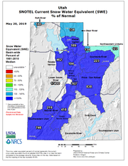 "Late May usually sees little or no snow in the mountains above southwestern Utah, so the snowfall seen in recent days has the area registering as 746 percent above normal according to the ""snow water equivalent"" tracked by the Natural Resources Conservation Service."