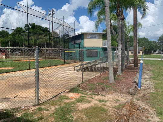 Only two small sets of bleachers sat at Thompson Rotary Field May 20, 2019, having been placed there three days earlier. Other bleachers were expected to be returned in the coming days, according to Derek Muller of Indian River Sports Complex Inc.
