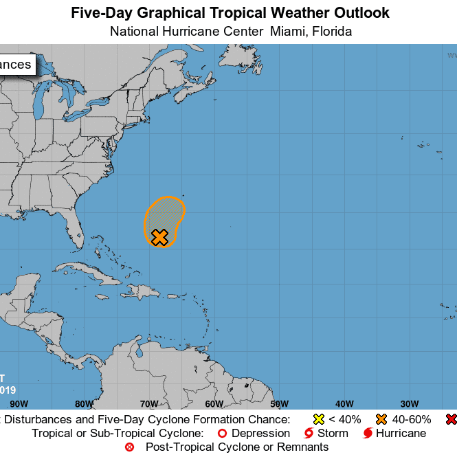 Chances continue to increase for development of tropical or sub-tropical storm east of Florida
