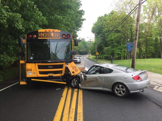 Ramapo police said a driver crashed into a school bus on Route 306 on May 20, 2019.