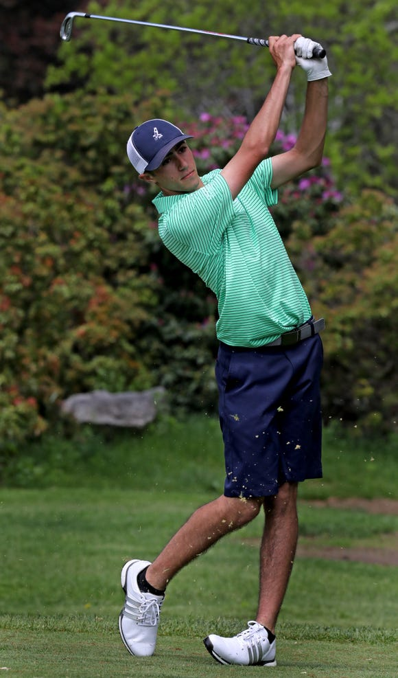 Suffern's Harrison Blech tees off on 15th hole during boys golf 1 tournament first round at Waccabuc Country Club in Waccabuc May 20, 2019.