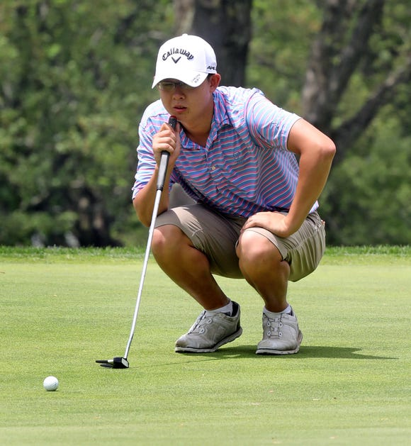Nathan Han of Somers on the 18th hole during boys golf 1 tournament first round at Waccabuc Country Club in Waccabuc May 20, 2019.