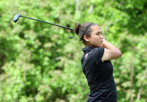 Maya Beasley of Croton tees off on the 9th hole during round 1 of the Section 1 girls golf tournament May 20, 2019 at Centennial Golf Club in Carmel.