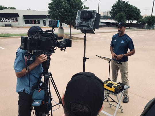 North Texans awoke to find The Weather Channel's most visible meteorologists making their way to storm hot spots. By lunchtime, Paul Goodloe had broadcast from spots throughout Wichita Falls, including  downtown, with the Hamilton Building and Big Blue just over his shoulder.