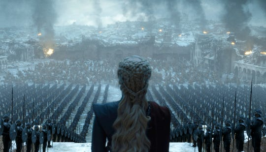 "This image released by HBO shows Emilia Clarke in a scene from the series finale of ""Game of Thrones."""