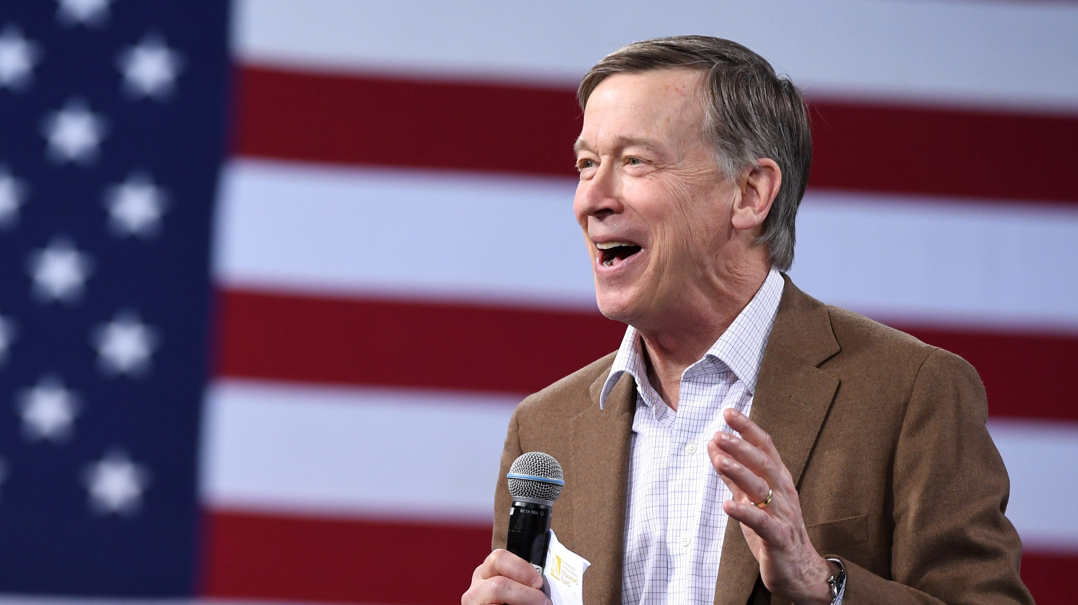 Democratic presidential candidate former Colorado Gov. John Hickenlooper speaks at the National Forum on Wages and Working People: Creating an Economy That Works for All at Enclave on April 27, 2019 in Las Vegas, Nevada.