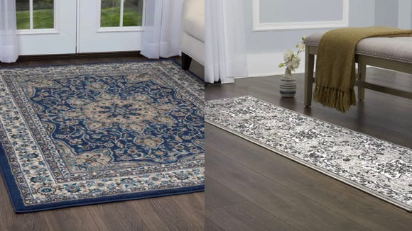 This traditional rug will look great in a bedroom or entryway.