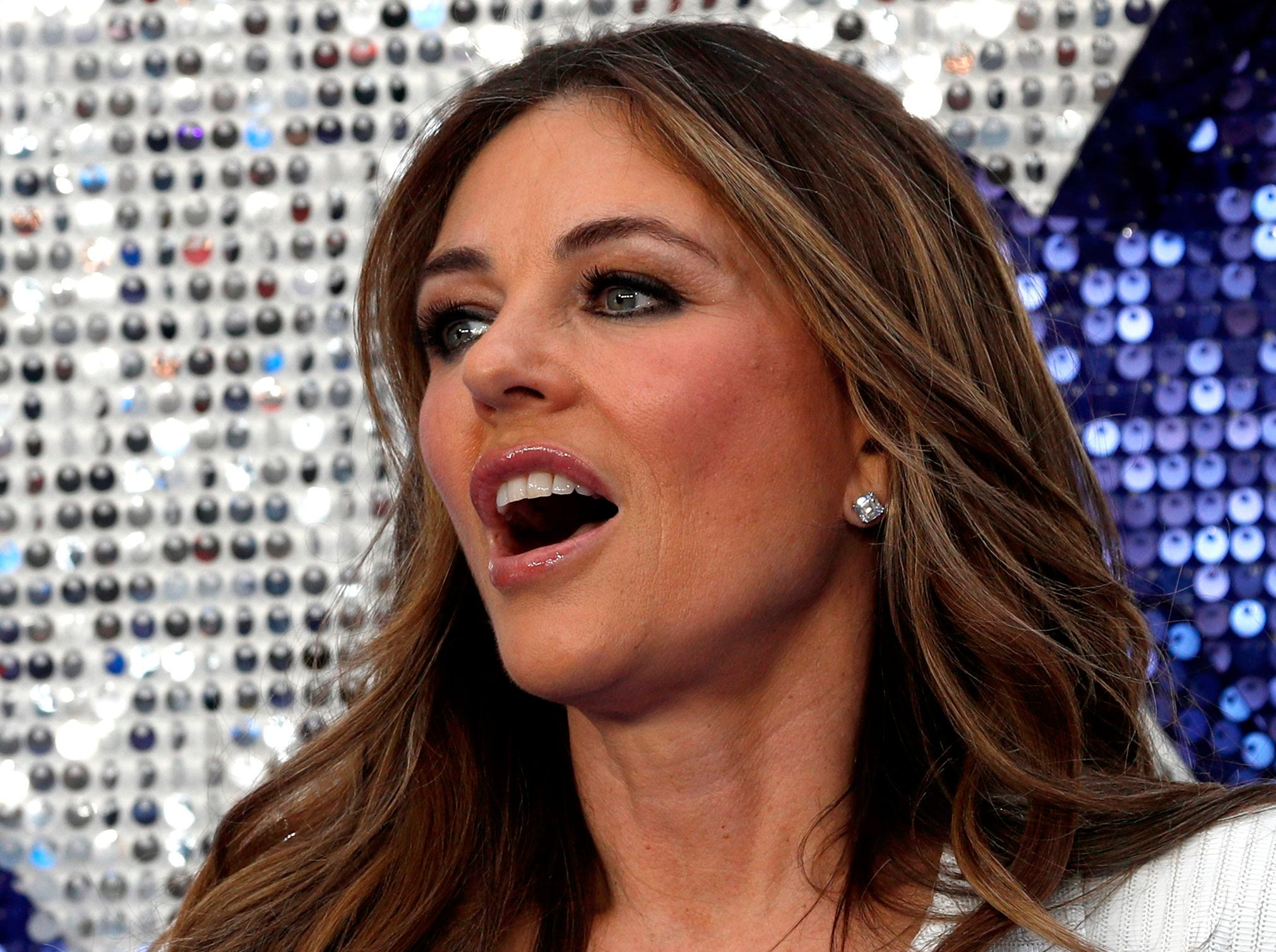 Liz Hurley poses on the red carpet before the UK premiere of the film Rocketman in London.