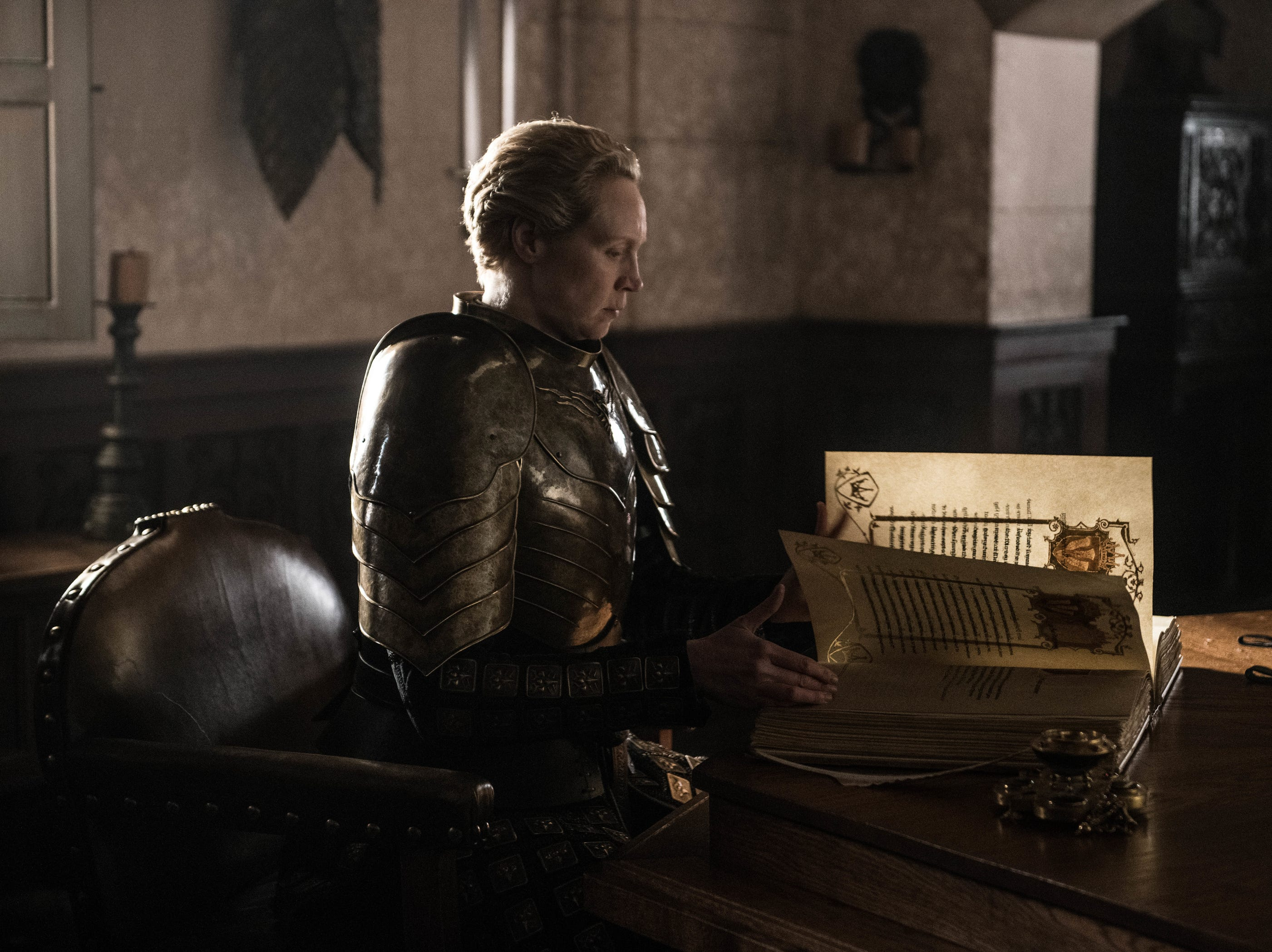Brienne of Tarth (Gwendoline Christie) records the later deeds of Jaime Lannister's life.