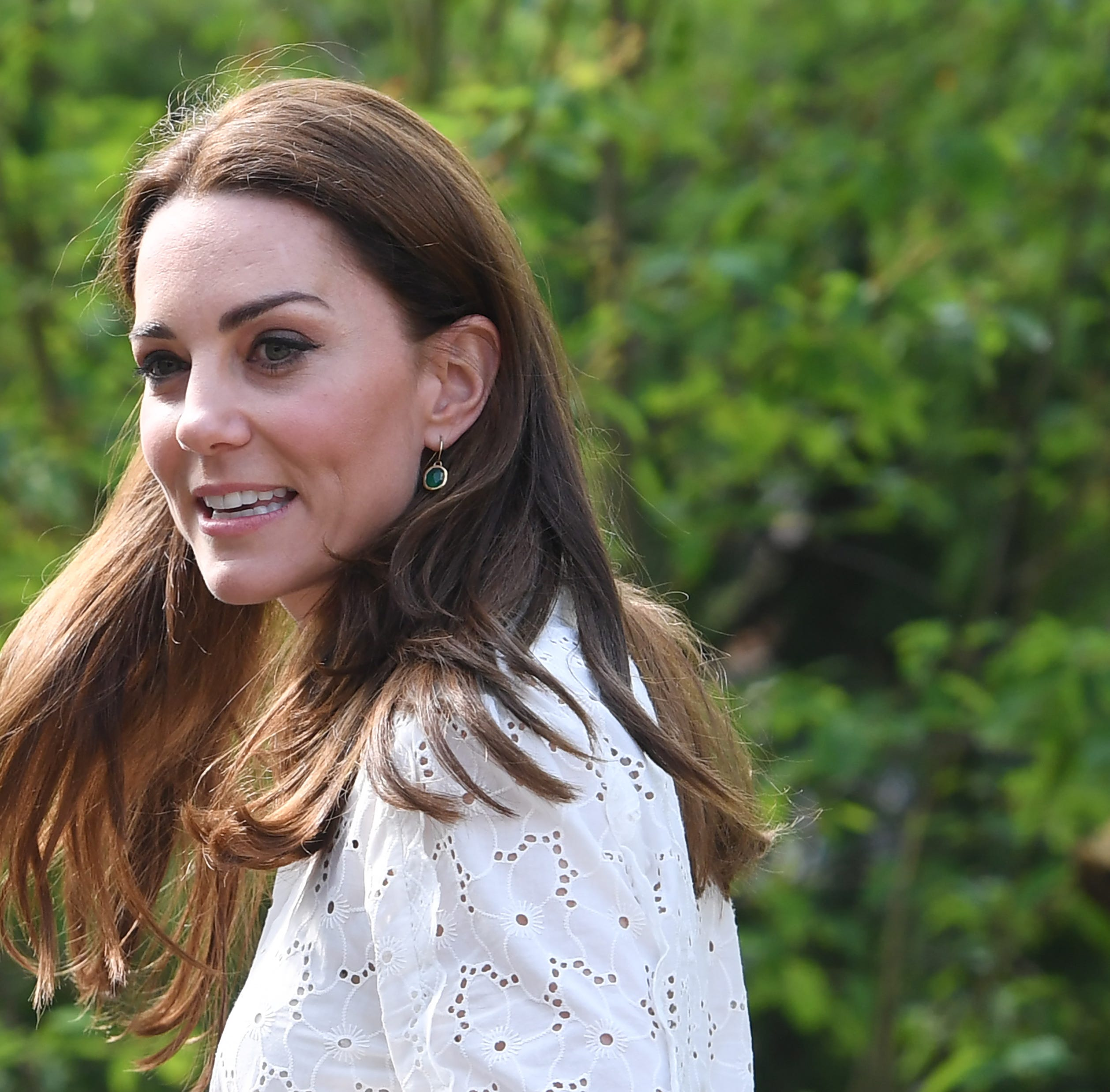 Kate, The Duchess of Cambridge visits the Adam White and Andree Davies co-designed 'Back to Nature' garden during the press day for the RHS Chelsea Flower Show in London, Britain on May 20, 2019.
