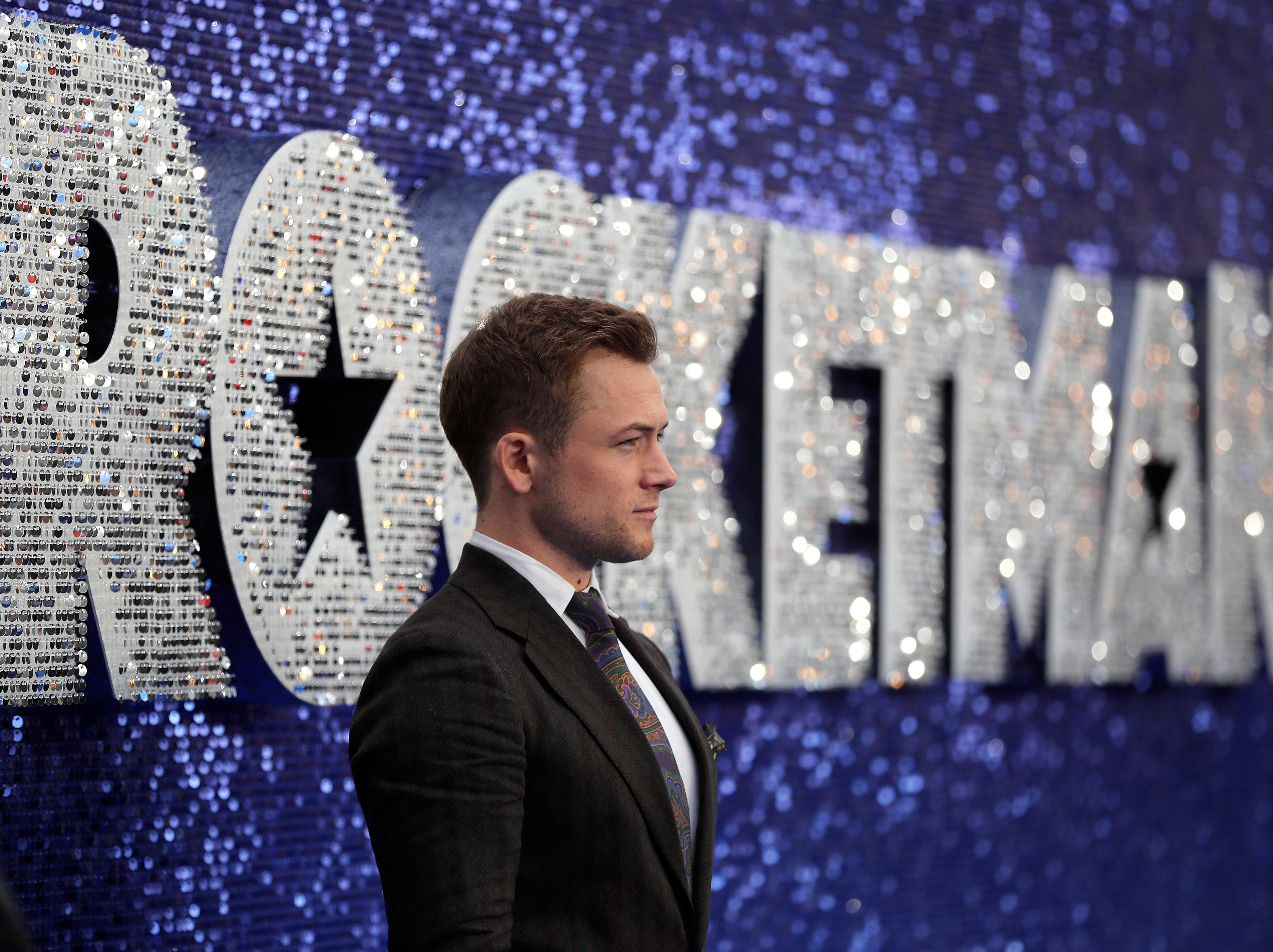 Taron Egerton arrives for the UK Film Premiere of Rocketman at the Odeon Luxe in London.