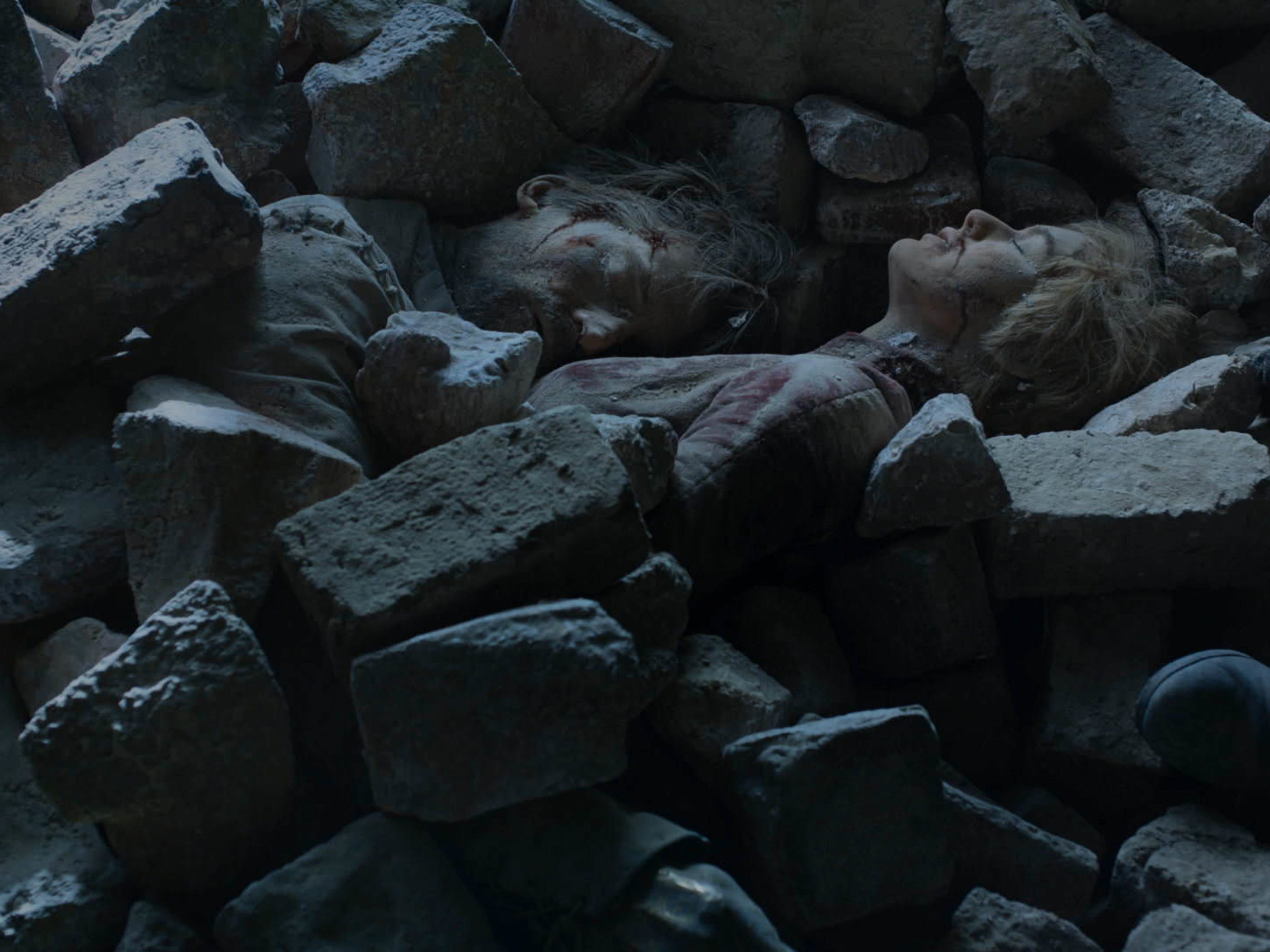 Jaime Lannister (Nikolaj Coster-Waldau), left, and his sister, Cersei (Lena Headey), died together in the Red Keep.