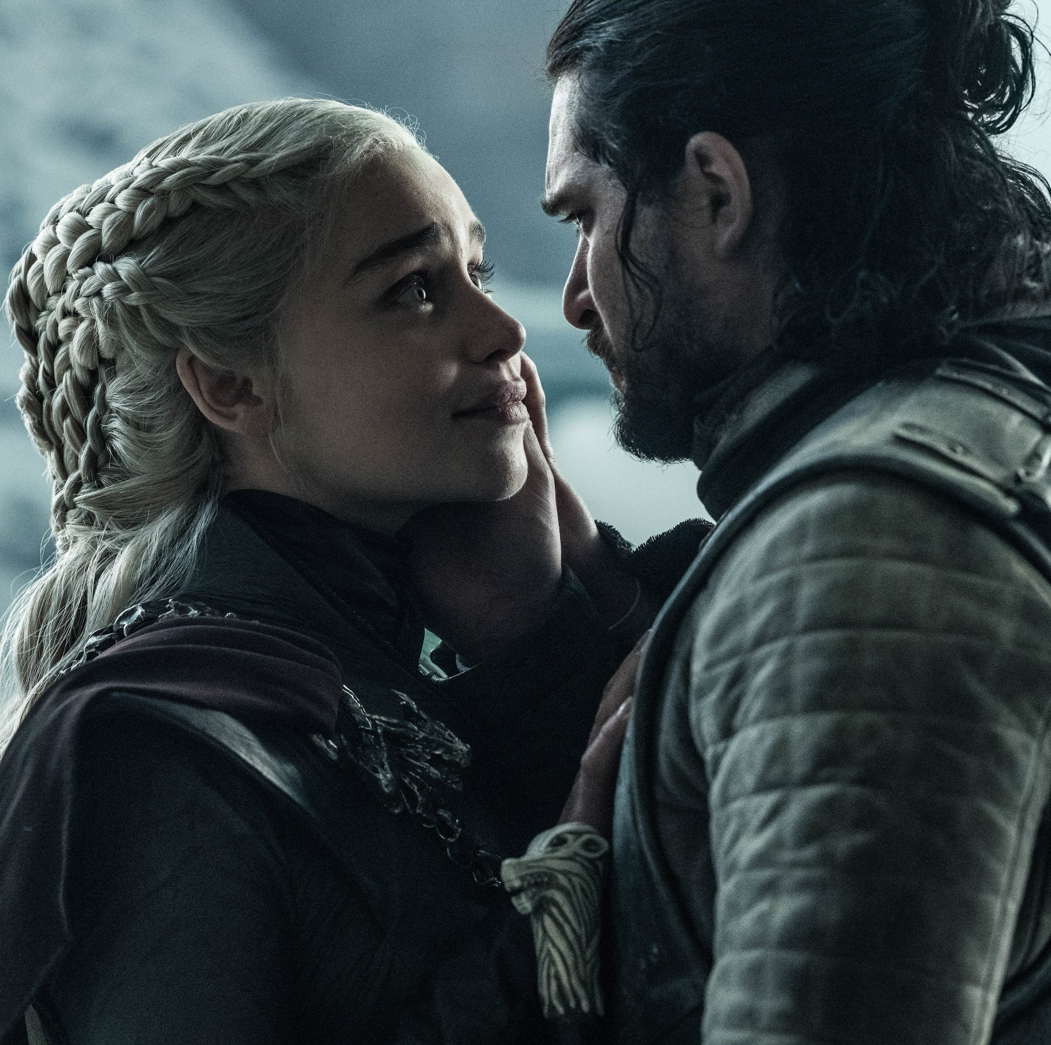 Danerys Targaryen (Emilia Clarke), left, and Jon Snow (Kit Harington) have their final embrace.
