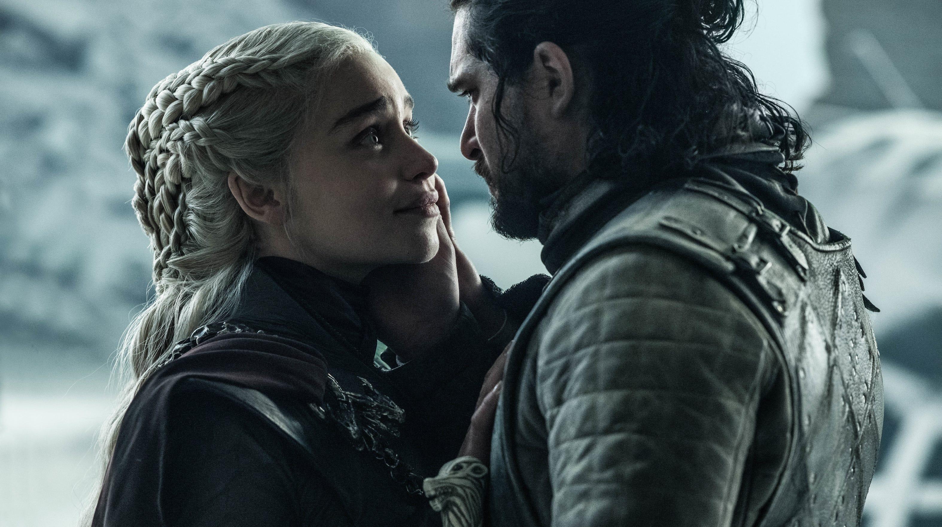 Danerys Targaryen (Emilia Clarke), left, and Jon Snow (Kit Harington) have their final embrace.