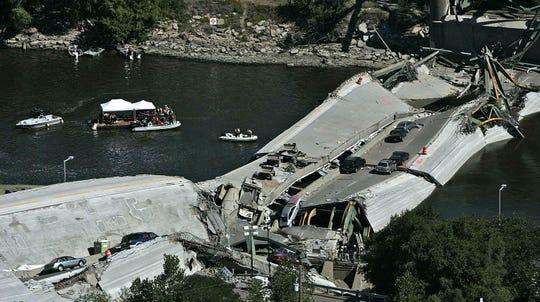 Bridge collapse in Minneapolis, Aug. 3, 2007 file photo.