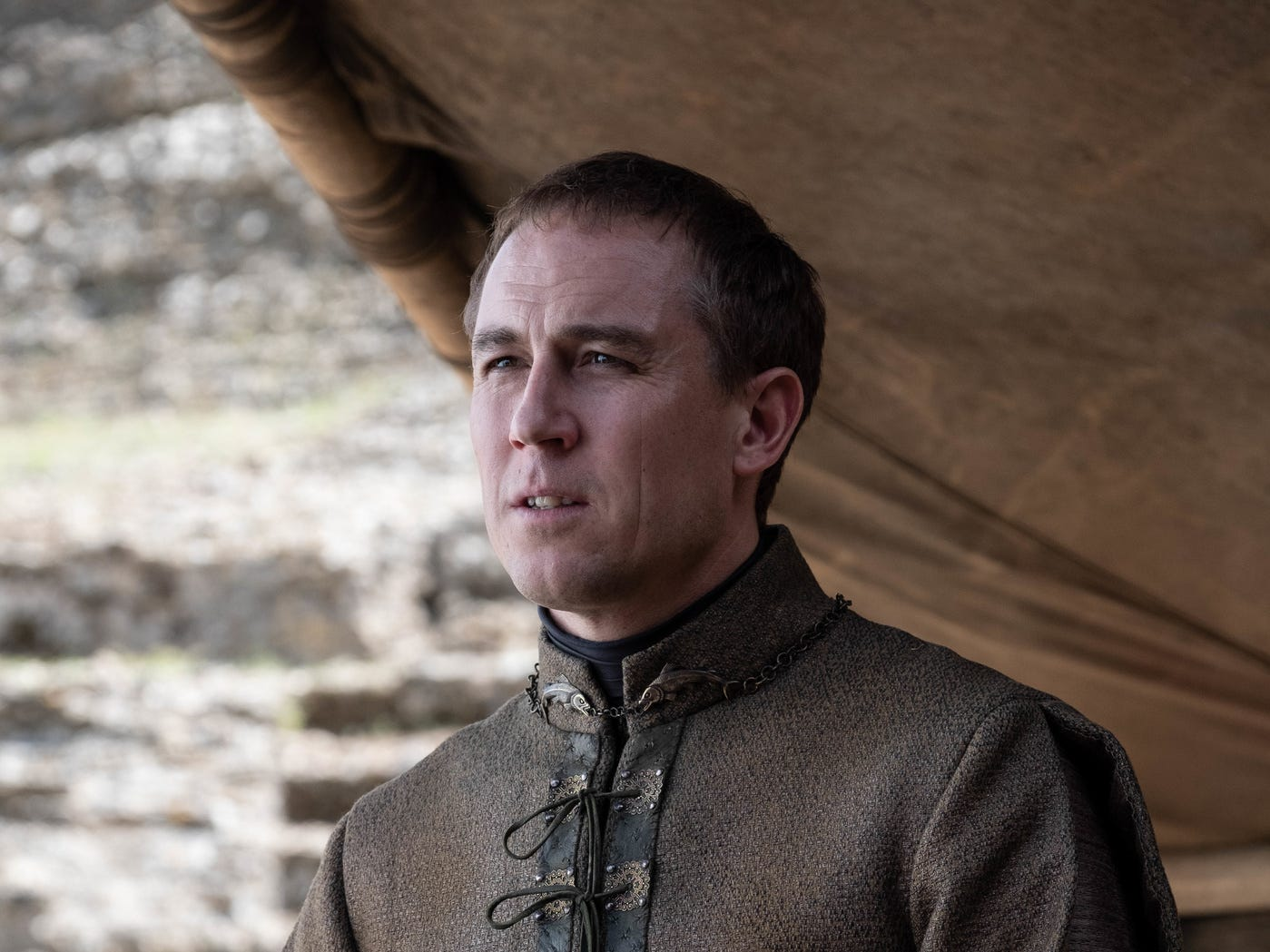 Edmure Tully (Tobias Menzies) is alive! (But no one's listening to him.)