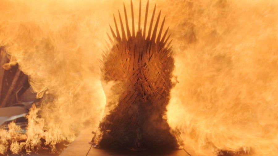 Drogon's fire  turns the Iron Thrones into scrap metal.